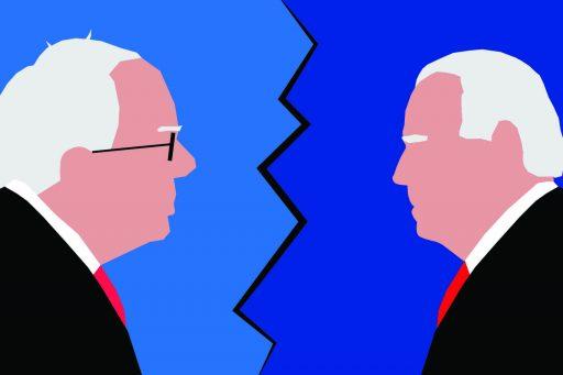 Cartoon of Joe Biden and Bernie Sanders facing off