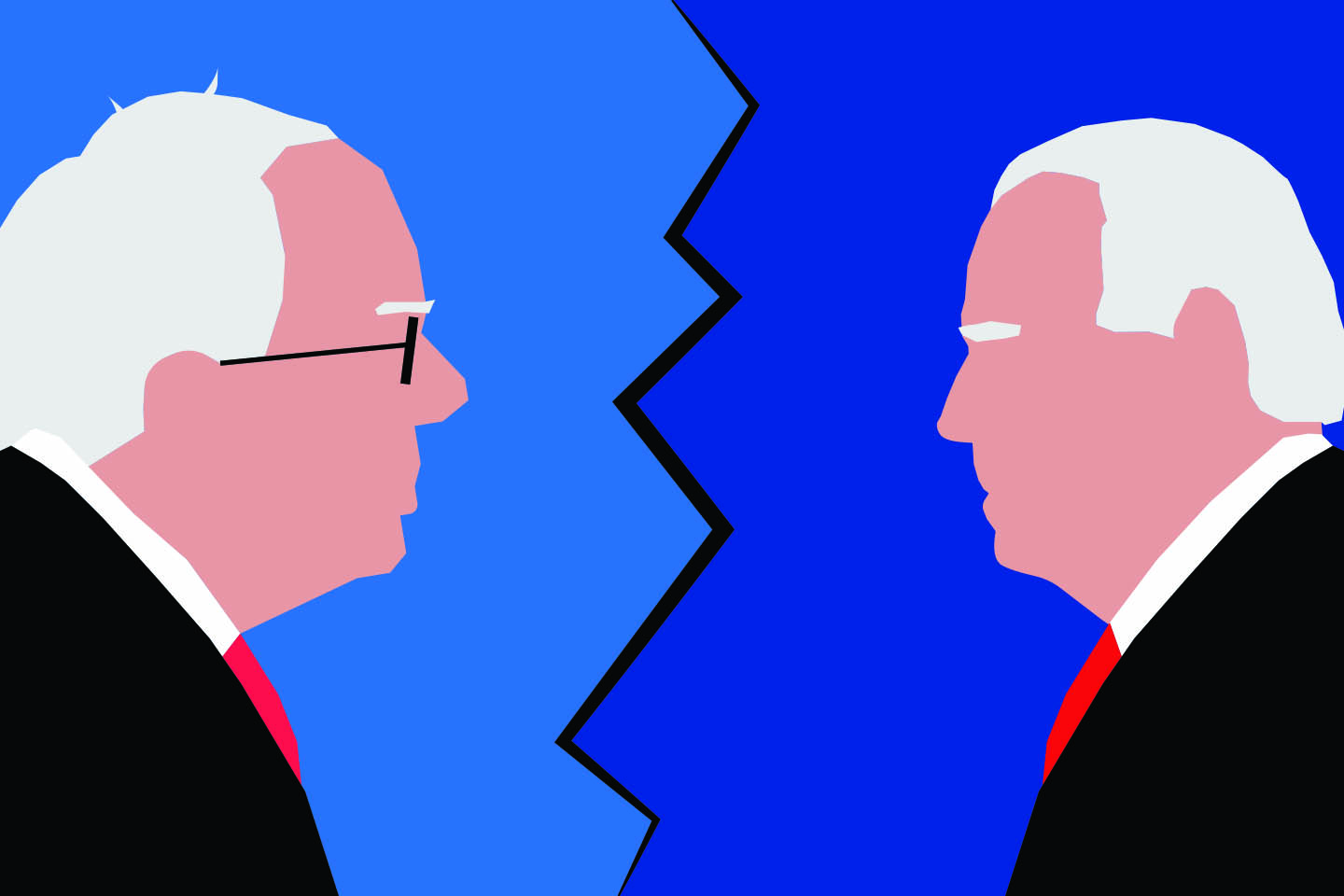 Cartoon of Joe Biden and Bernie Sanders facing off
